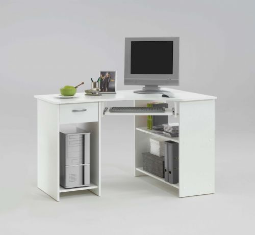 Alex White Corner Desk with Drawer and Shelves - 2922